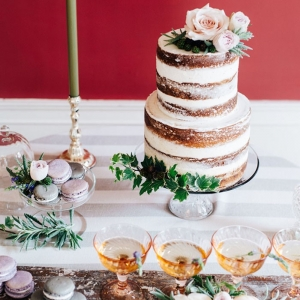 Lilac and Gray Wedding Dessert Display with Champagne Cocktails