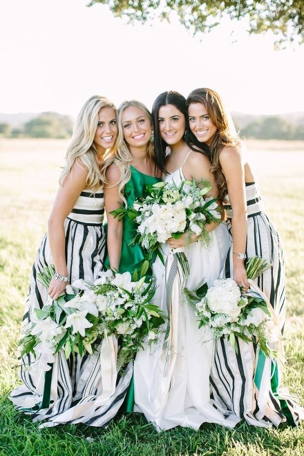 Bridesmaids in Floor Length Black and White Striped Dresses