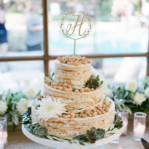 Naked Momofuku Wedding Cake with a Custom Topper and Succulents