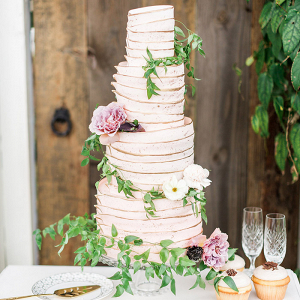Latte Inspired Wedding Cake with Neutral Flowers
