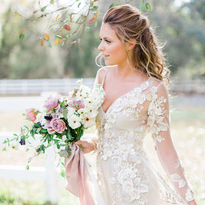 Dreamy Floral Lace Wedding Dress with Long Sleeves