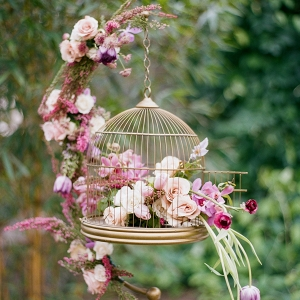 Vintage Gold Birdcage with Purple Garden Flowers