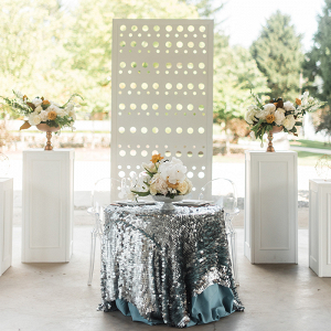 Modern Wedding Reception Decor with a Sequin Sweetheart Table