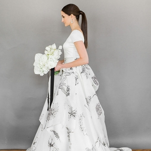 Modern Floral Print Wedding Dress