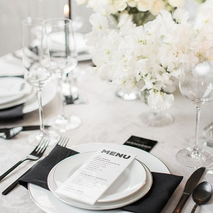 Monochrome White Wedding Flowers with Modern Black Decor