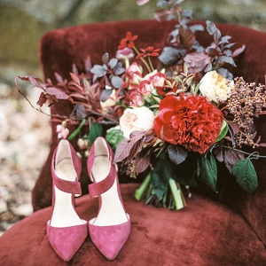 Berry Suede Bridal Shoes with a Burgundy and Crimson Bouquet