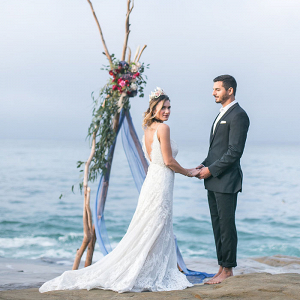 Cliffside Wedding Ceremony with Boho Glam Style