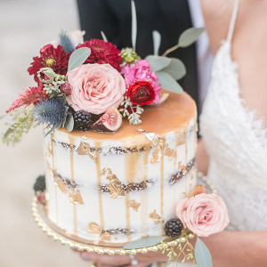 Bride Holding a Caramel Drizzle Cake