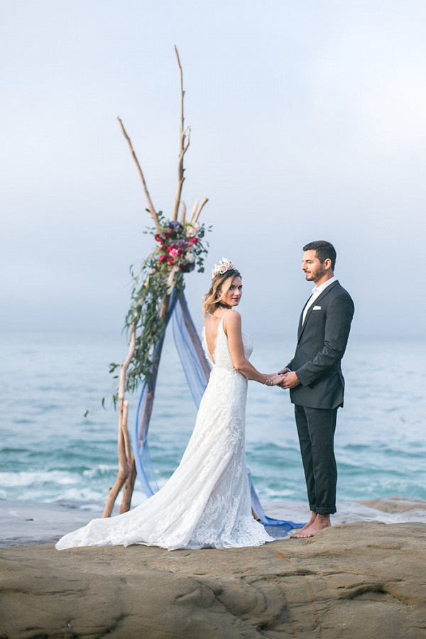 Cliffside Wedding Ceremony with Boho Glam Style