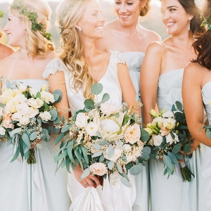 Naturally Elegant Bridesmaids in Blue Silk with Eucalyptus Bouquets