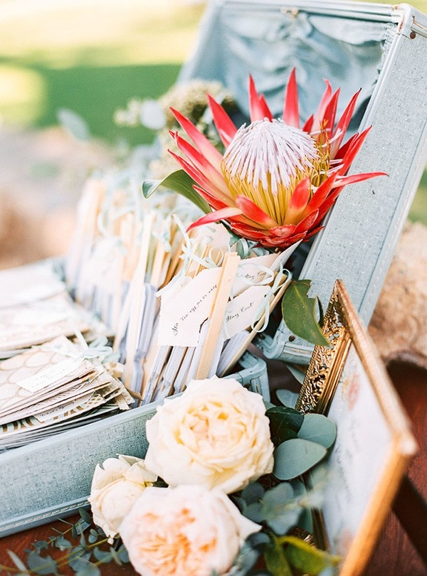 Vintage Guest Book with a King Protea