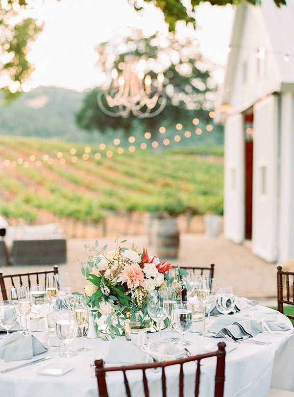 Elegant Al Fresco Winery Wedding Reception