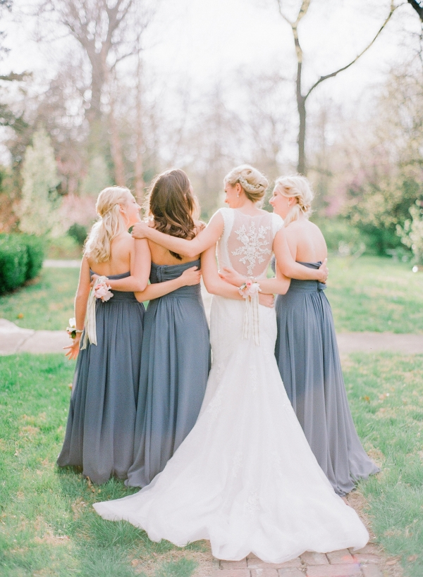Romantic Bridal Party Portraits with Bridesmaids in Lilac Gray