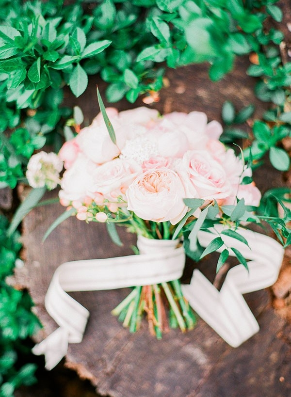 Romantic Garden Rose Bouquet with a Chic Striped Ribbon