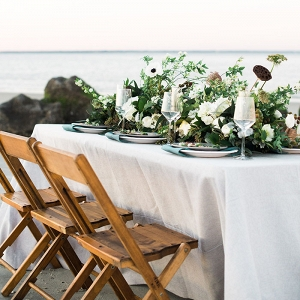 Coastal Head Table with a Greenery and Flower Runner