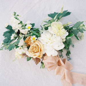 Peach, Yellow, and Ivory Summer Bouquet