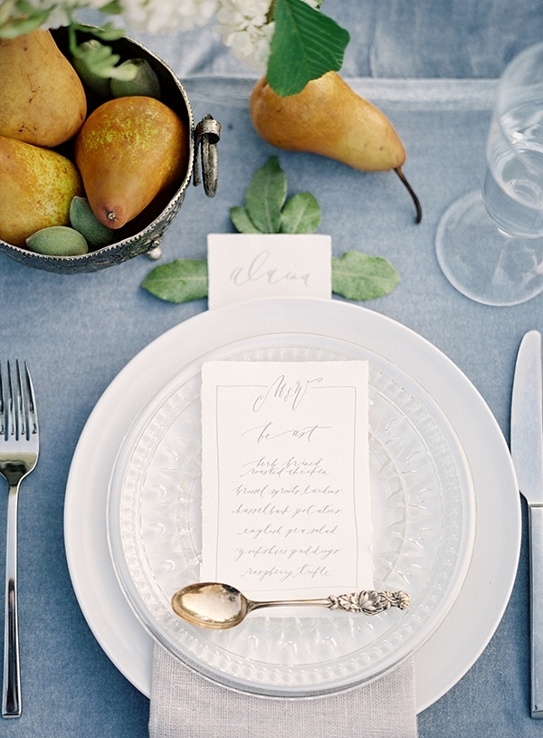 Organic Place Setting with Crystal, China, and Fresh Fruit