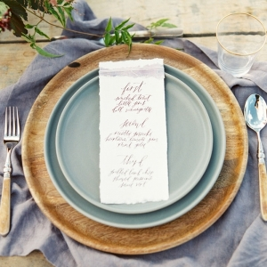 Raw Linen, Natural Wood, and China Place Setting