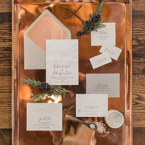 Hand Lettered Invitations on a Copper Tray