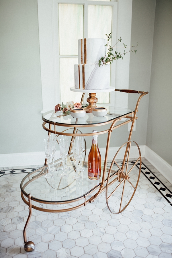 Vintage Bar Cart Turned Wedding Cake Display