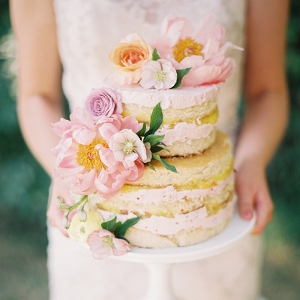 Floral Topped Naked Wedding Cake with Pastel Garden Flowers
