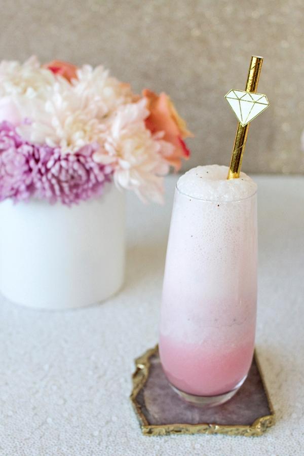 Rainbow Mimosas and DIY Gold Gem Cocktail Stirrers
