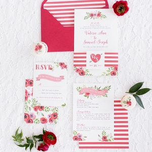 Stripes and Floral Print Retro Glam Wedding Invitations