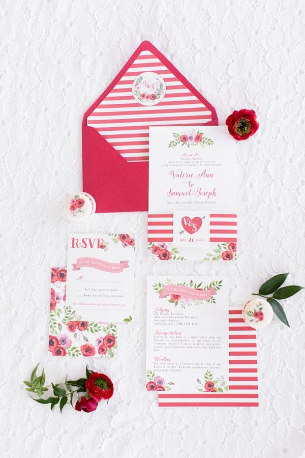 Stripes and Floral Print Retro Glam Wedding Invitations