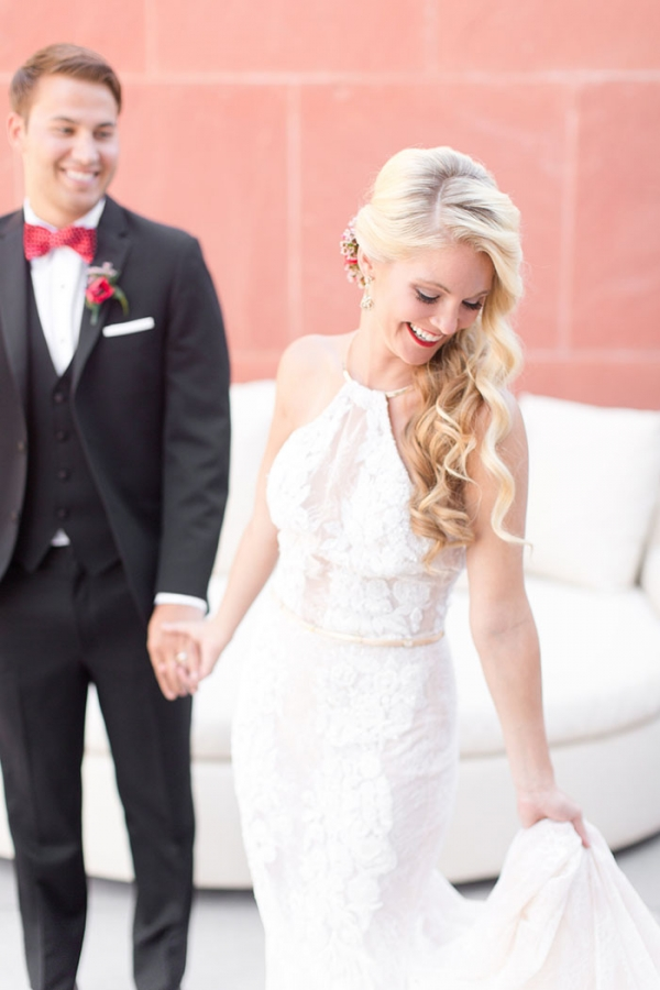 Lace and Gold Halter Neck Wedding Dress
