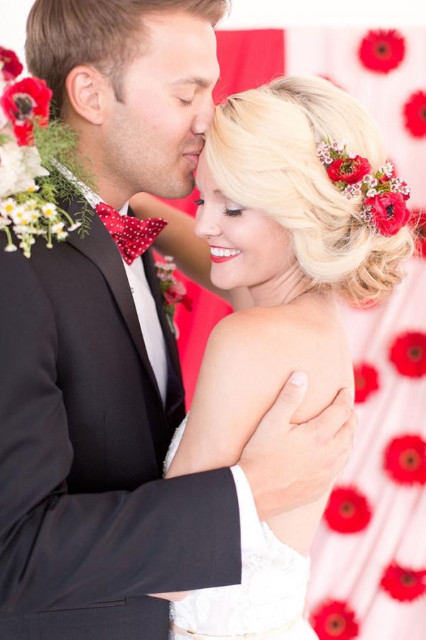 Romantic Floral Updo in Retro Red