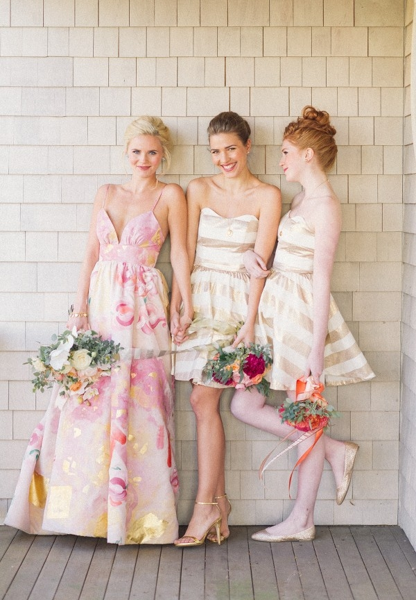 Pink Floral Print Wedding Dress with Preppy Gold Striped Bridesmaids!