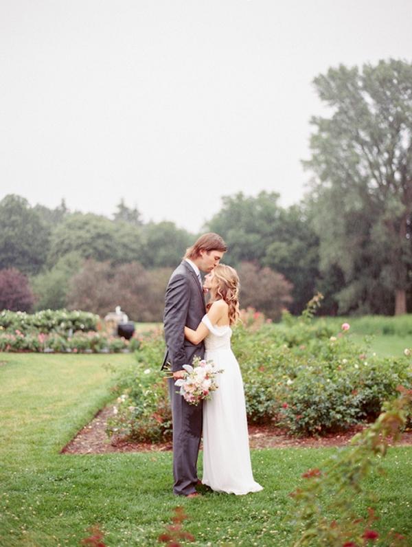 Rainy Day Wedding in a Romantic Garden