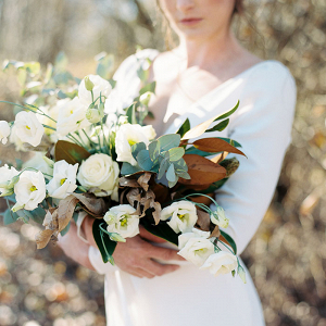 Magnolia and Greenery Bouquet for a Rustic Ranch Wedding