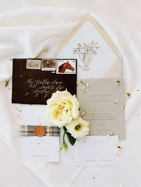 Elegant Ranch Wedding Invitations in Tweed and Gold