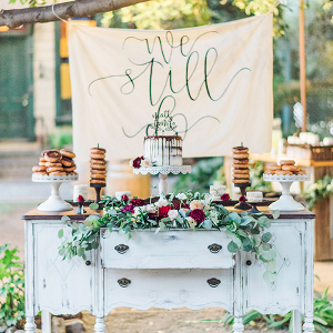 Rustic Vintage Dessert Display with a Kraft Paper Banner