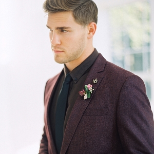 Handsome Groom in a Plum Tweed Suit