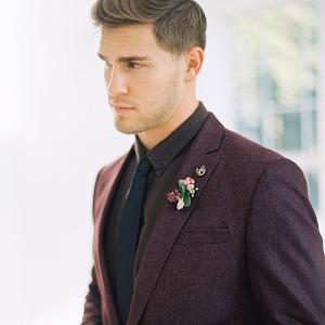 Handsome Groom in a Plum Tweed Suit