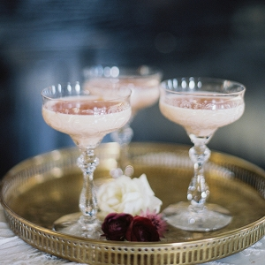 Vintage Glasses for a Blush Specialty Cocktail