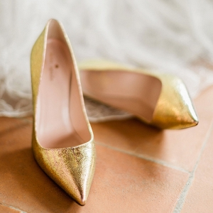 Modern Gold Bridal Shoes