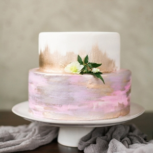 Watercolor and Gold Leaf Wedding Cake