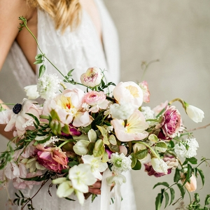 Elegant Peach and Plum Wedding Bouquet