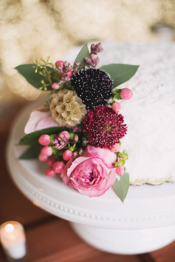 Petite Wedding Cake with a Fresh Flower Topper