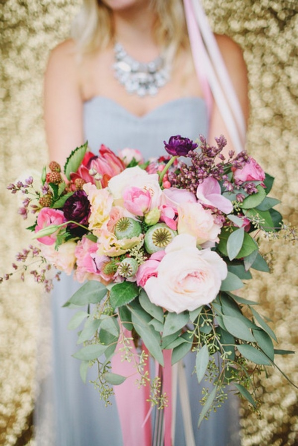 A Pink and Blush Spring Bouquet with a Lilac Gray Wedding Dress