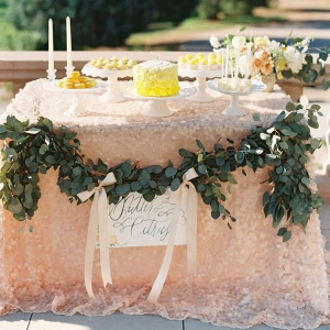 Pastel Dessert Display on Peach Sequin Linens