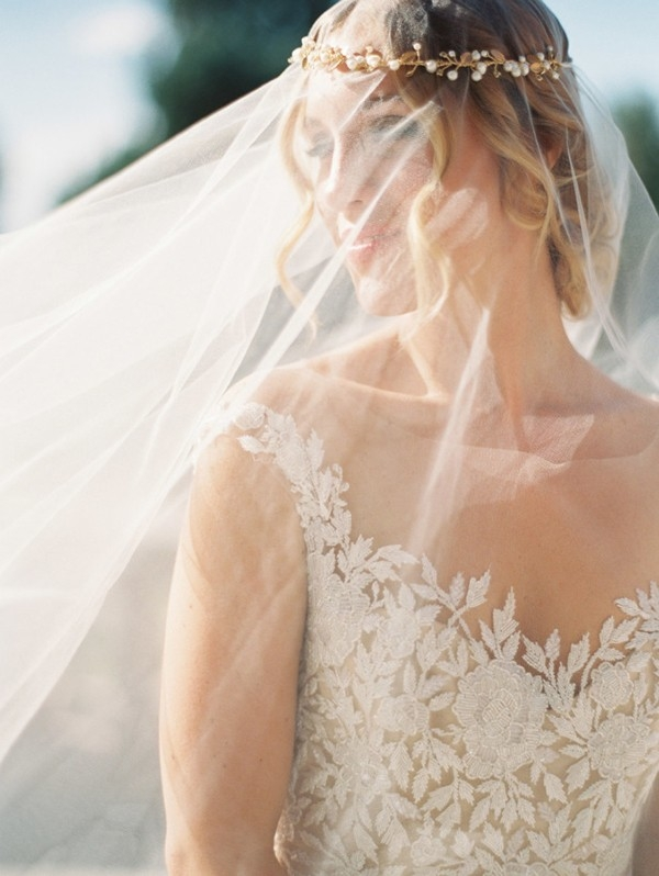 Veiled Bride with a Delicate Gold Headpiece
