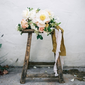 Romantic Spring Garden Bouquet in Peach and Ivory