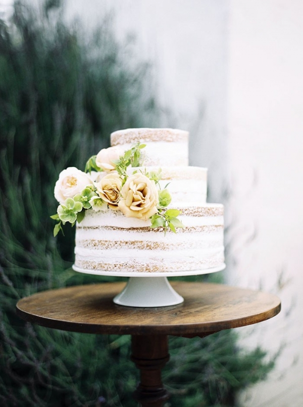 Chic Naked Wedding Cake with Neutral Flowers