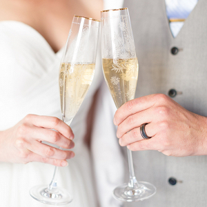 Etched Champagne Flutes for an Intimate Elopement
