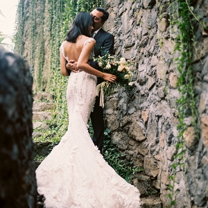 Stunning Wedding Portraits at a Balinese Temple with a Couture Wedding Dress