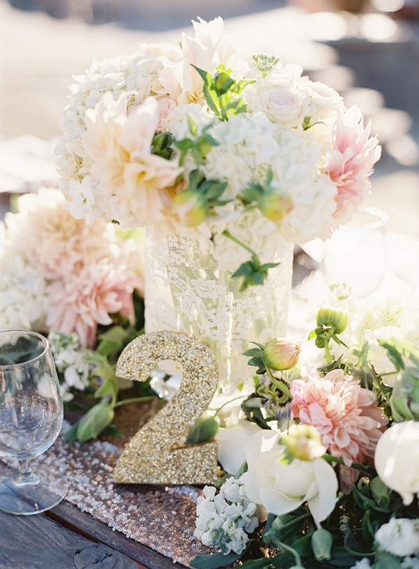 Blush and Ivory Garden Centerpiece with Glittering Gold Table Numbers